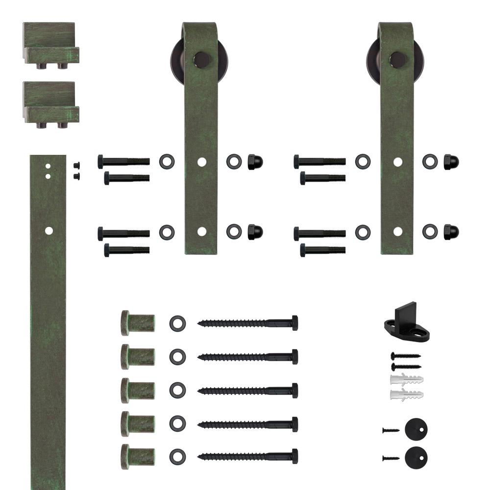 Hook Strap Green Patina Rolling Barn Door Hardware Kit with 2-3/4