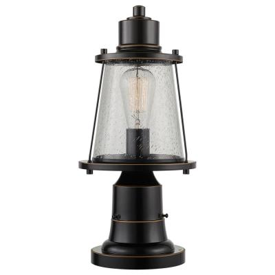 Charlie 1-Light Oil Rubbed Bronze Outdoor Lamp Post Light Fixture with Base Adaptor and Seeded Glass Shade