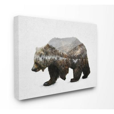 "30 in. x 40 in. ""Bear Silhouette Mountain Range Photography"" by Anna Dittman Canvas Wall Art"