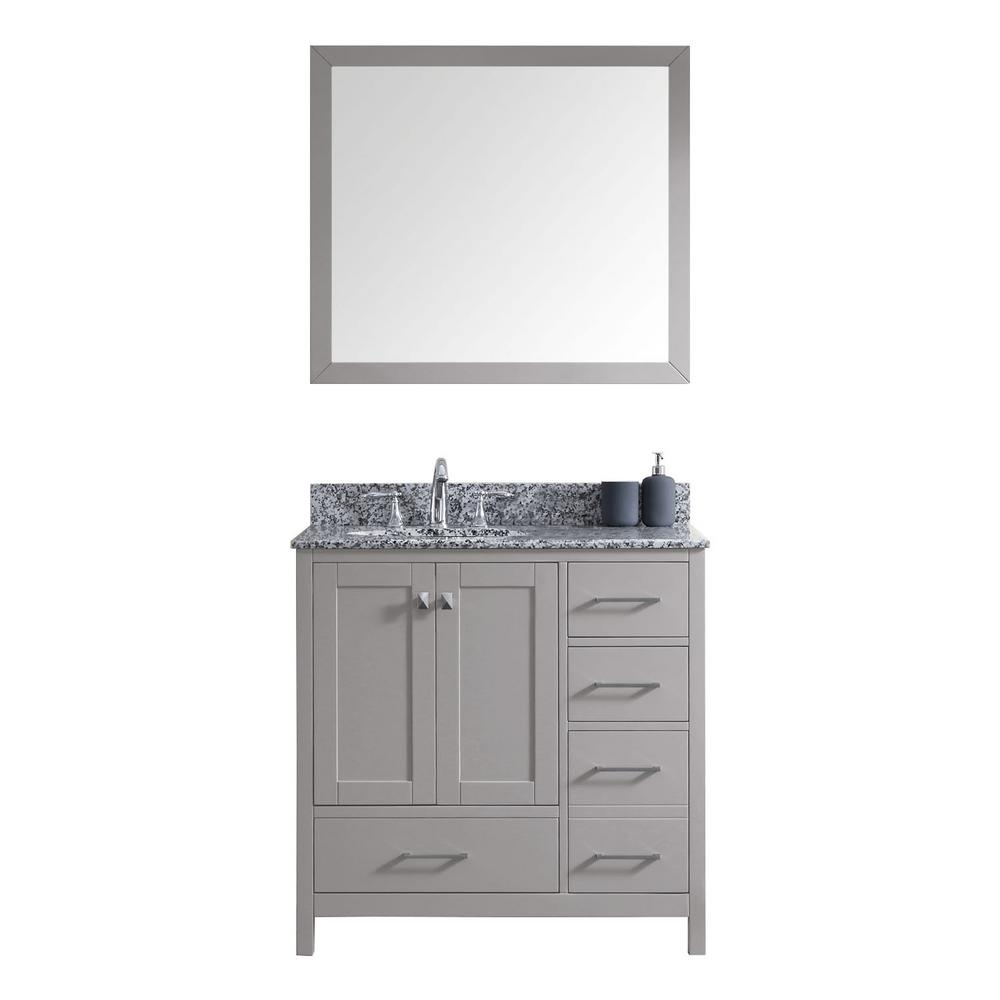 Virtu USA Caroline Madison 36 in. Vanity in Grey with Granite Vanity Top in Arctic White with White Round Basin and Mirror