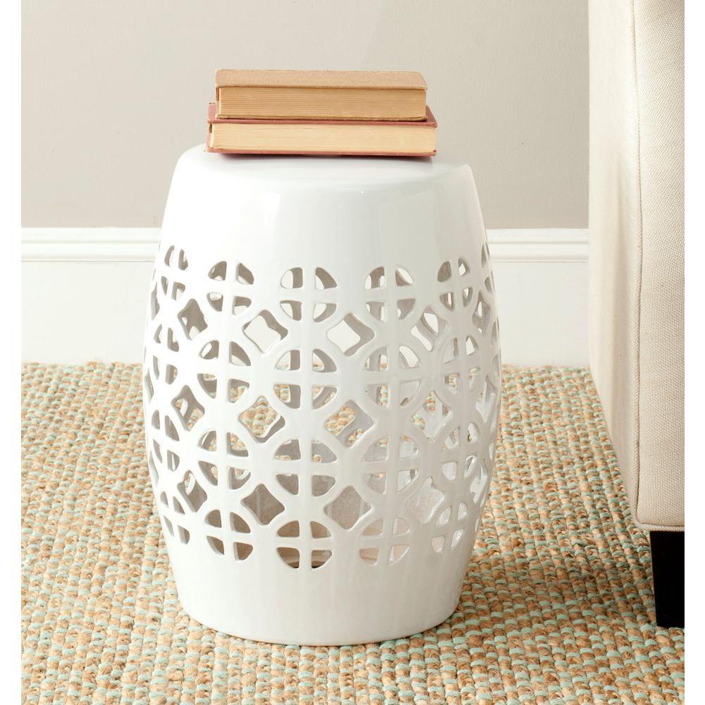 Circle Lattice White Ceramic Patio Stool