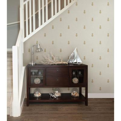 Southern Charm Beige Pineapple Wallpaper Sample