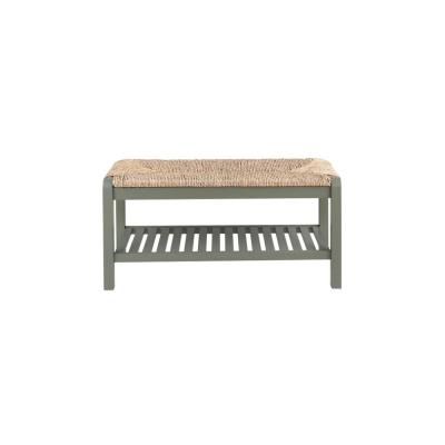 Dorsey Willow Green Wood Entryway Bench with Rush Seat (37.99 in. W x 17.72 in. H)