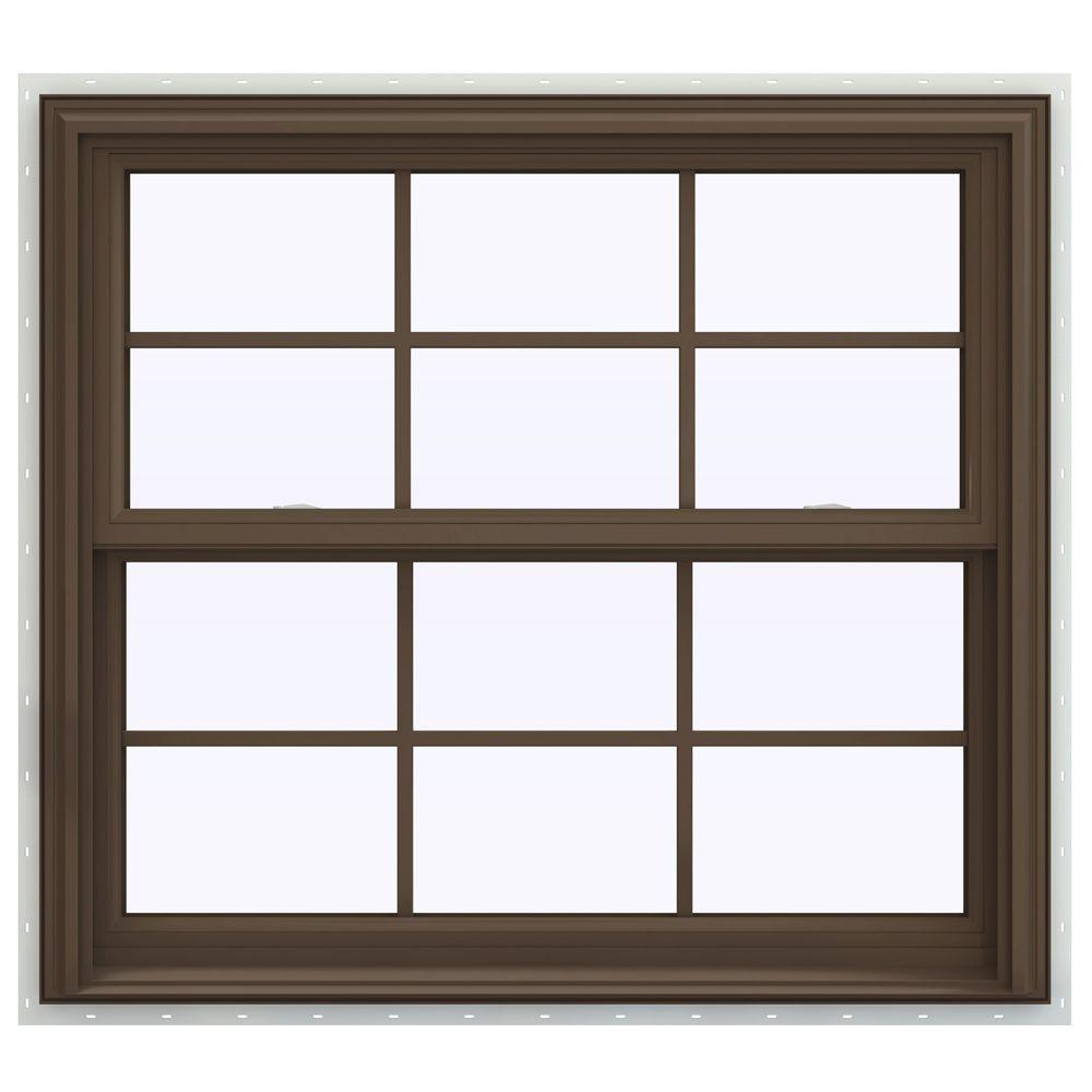 JELD-WEN 39.5 in. x 40.5 in. V-2500 Series Double Hung Vinyl Window with Grids - Brown
