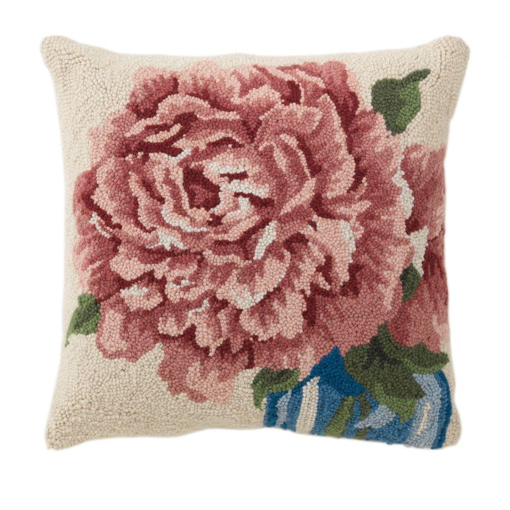 Home Decorators Collection 18 in. W Naomi Pink Hooked Pillow