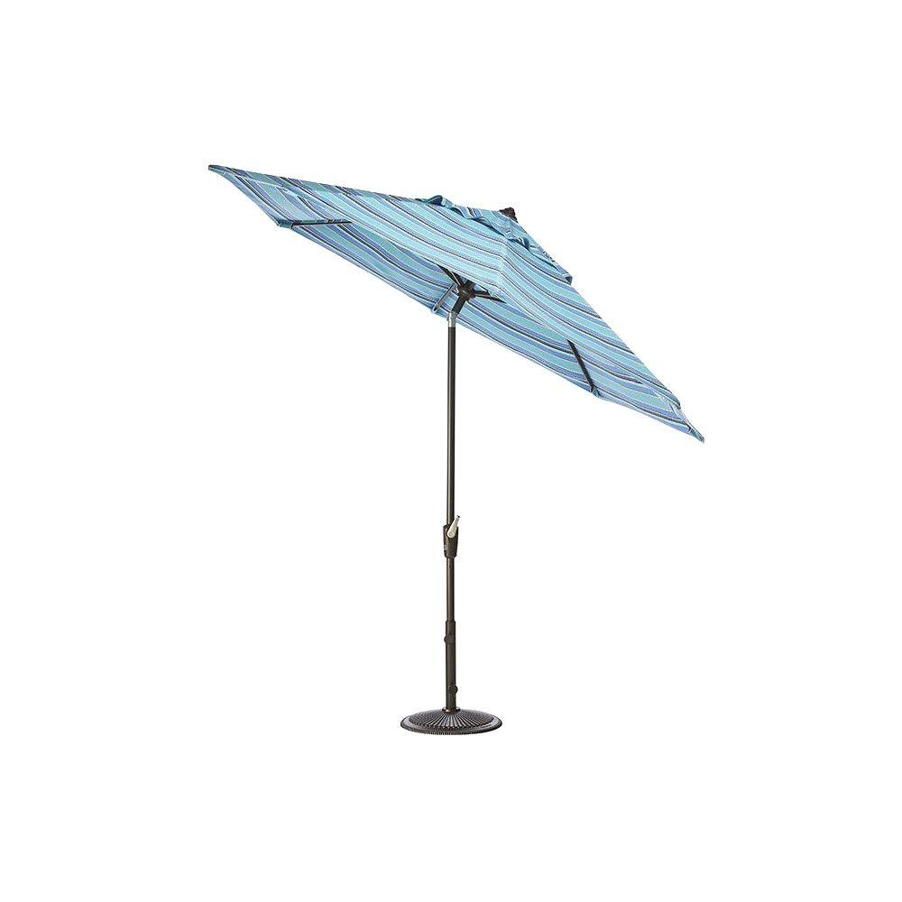 Home Decorators Collection 6.5 ft. x 10 ft. Auto-Tilt Patio Umbrella in Dolce Oasis Sunbrella with Bronze Frame