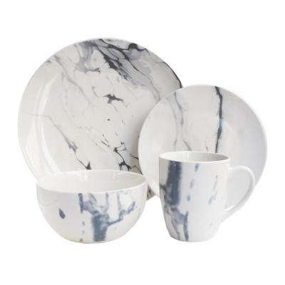 Marble 16-Piece White and Blue Dinner Set