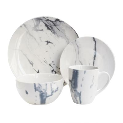 Marble 16-Piece Patterned White and Blue Porcelain Dinnerware Set (Service for 4)