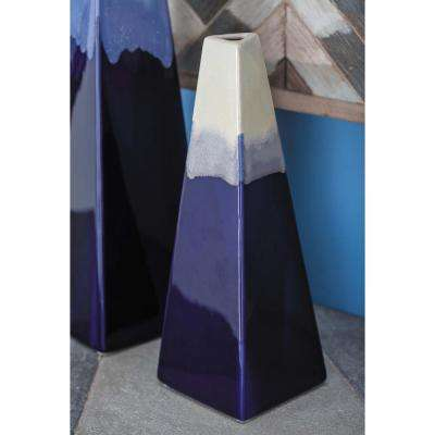 11 in. Blue and White Gradients Ceramic Decorative Vase