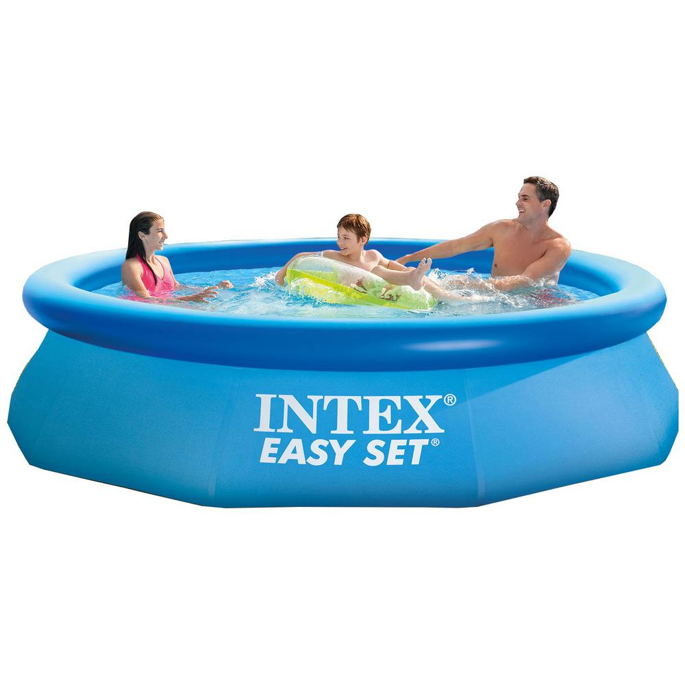 Intex 10 ft. Round 30 in. D Soft-Side Inflatable Above Ground