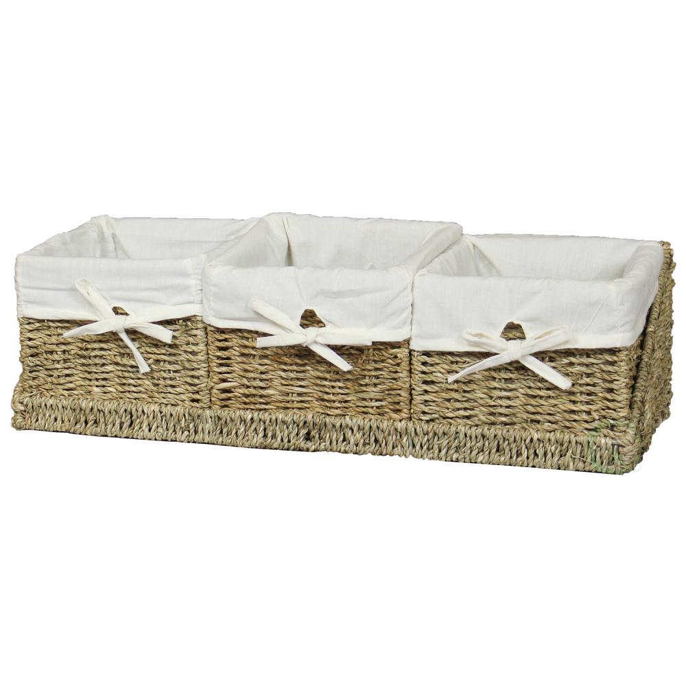 7 in. W x 7 in. D x 5.5 in. H Seagrass Set of 3 Shelf Basket with ...