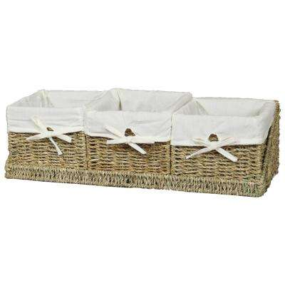 7 in. W x 7 in. D x 5.5 in. H Seagrass Set of 3 Shelf Basket with Tray