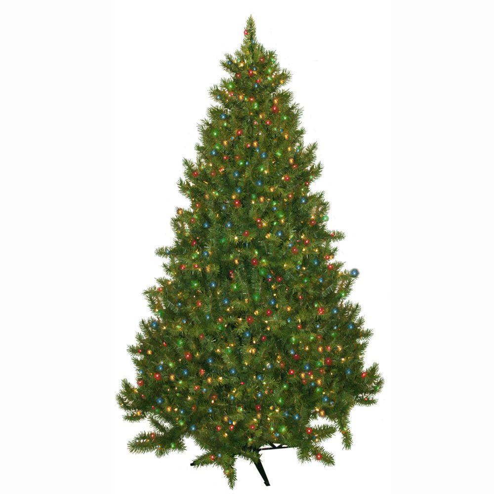 general foam 7 5 ft pre lit carolina fir artificial christmas tree with multi colored lights hd. Black Bedroom Furniture Sets. Home Design Ideas