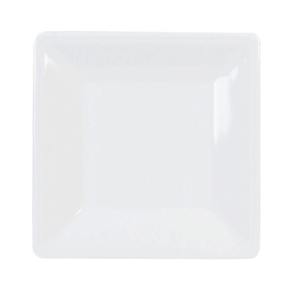 Restaurant Essentials Jazz 8-1/4 in. x 8-1/4 in. Square Plate 7/8 in. Deep in White (1-Piece)