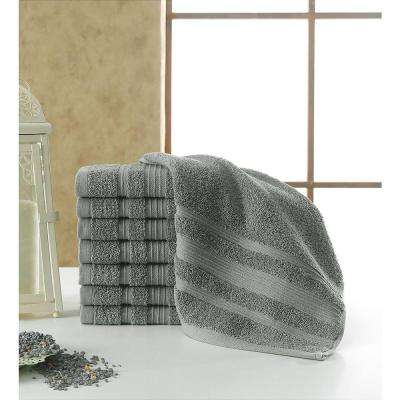 Solomon Collection 13 in. W x 13 in. H 100% Turkish Cotton Bordered Design Luxury Washcloth in Grey (Set of 8)