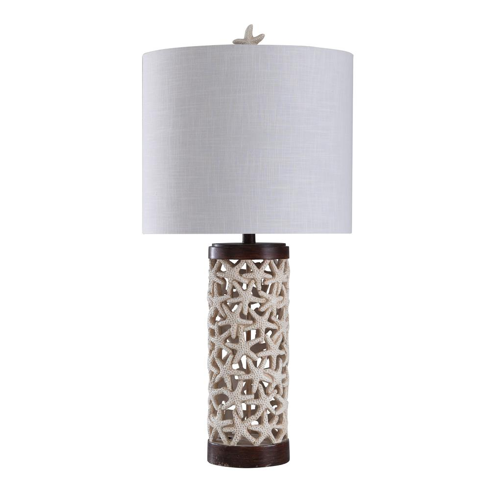 Stylecraft 31 5 In Starfish Off White Base Top And Bottom Lt Dark Wood Table Lamp With Geneva Hardback Fabric Shade