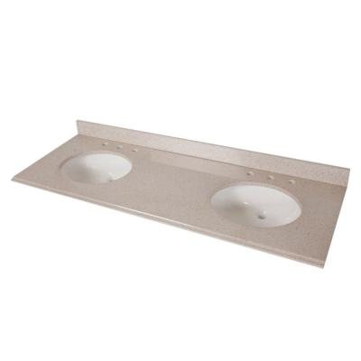 61 in. Colorpoint Double Bowl Vanity Top in Maui with White Bowls