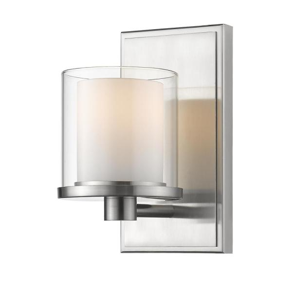 Mira 1-Light Brushed Nickel Bath Light with Clear and Matte Opal Glass Shade