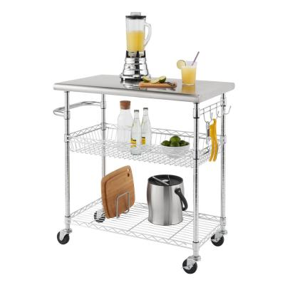 EcoStorage Chrome Color 34 in. Stainless Steel Kitchen Cart