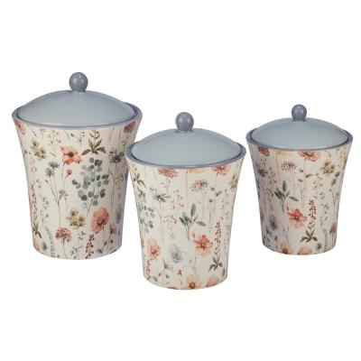 Country Fresh 3-Piece Traditional Multi-Colored Ceramic 48, 58, 86 oz. Canister Set