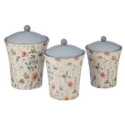 Country Weekend 3-Piece Multi-Colored 48, 58, 86 oz. Cannister Set