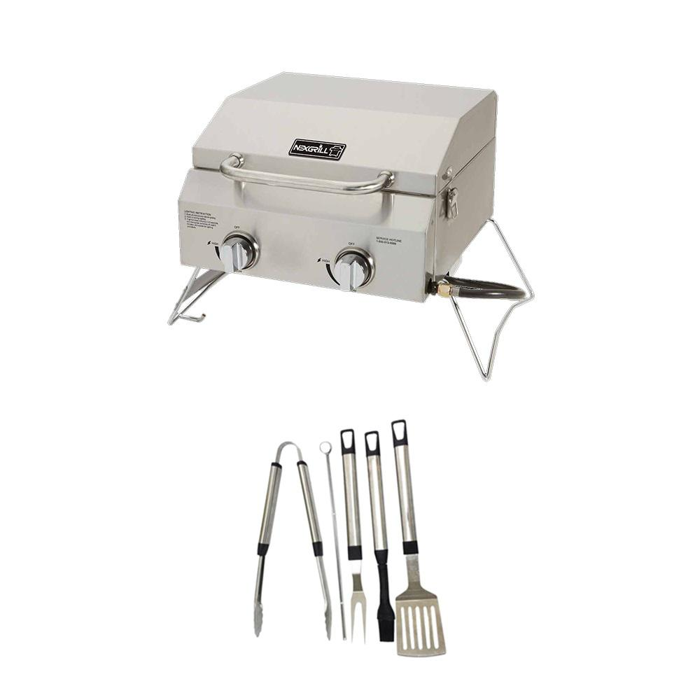 Nexgrill 2 Burner Portable Propane Gas Table Top Grill In Stainless Steel Plus Tool Set 820 0033xa The Home Depot