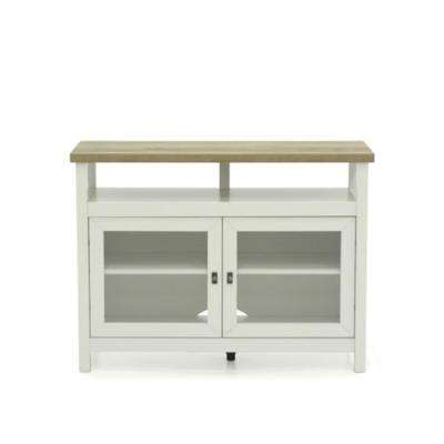 Cottage Road Soft White TV Stand with Doors