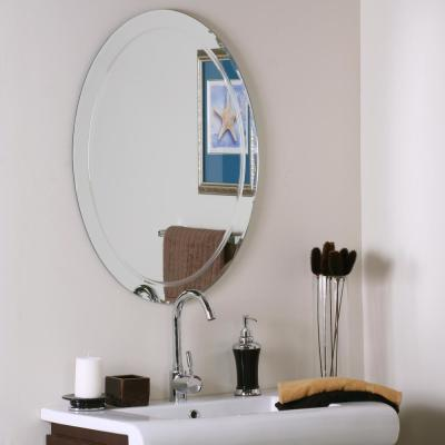 24 in. W x 32 in. H Frameless Oval Beveled Edge Bathroom Vanity Mirror in Silver
