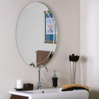 31.5 in. x 23.5 in. Oval Frameless Aldo Wall Mirror with Beveled Edge