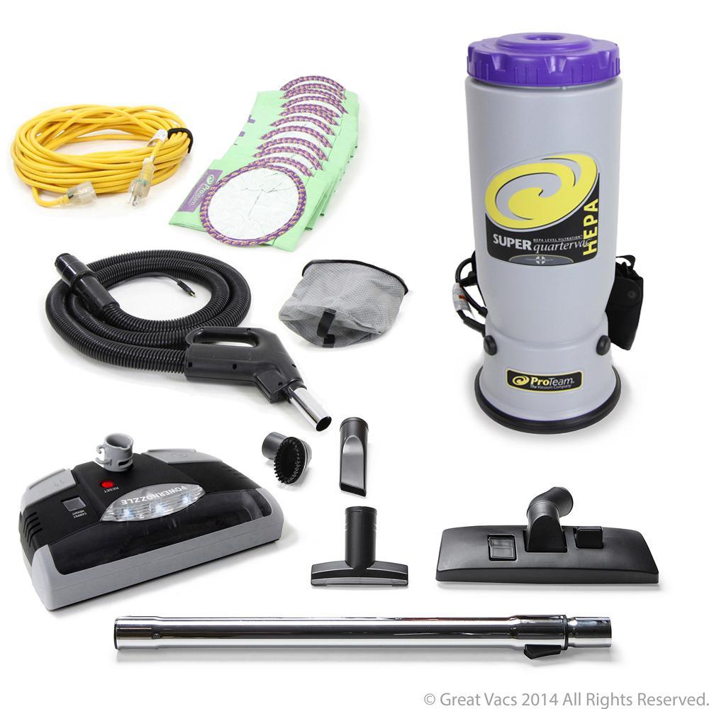 NEW Proteam Super Commercial Backpack Vacuum W. Head 6 Qt...