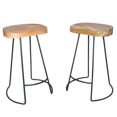 Saga 25 in. Natural and Black Counter Stool (Set of 2)