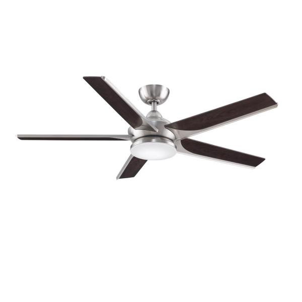 Subtle 56 in. Integrated LED Brushed Nickel Ceiling Fan with Light Kit and Remote Control