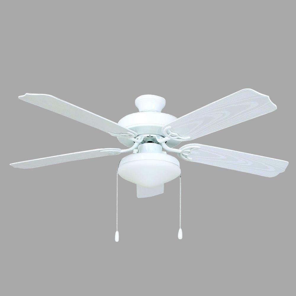 Yosemite Home Decor Patterson 52 In. White Outdoor Ceiling Fan With 72 In.  Lead