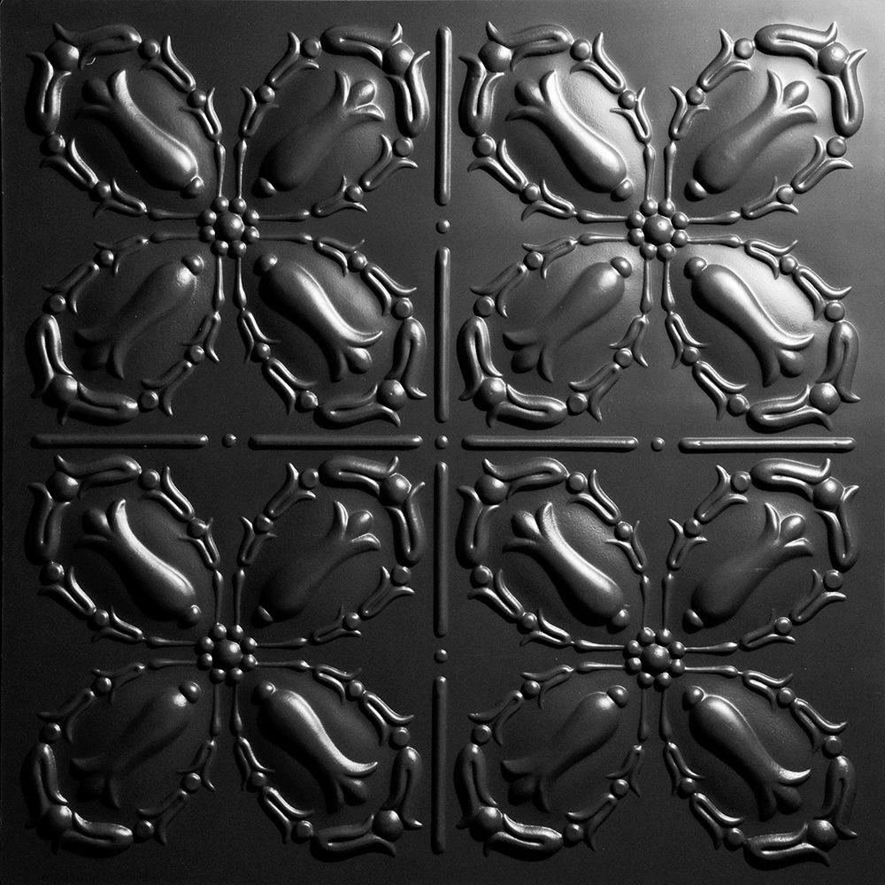Ceilume Orleans Black 2 ft. x 2 ft. Lay-in or Glue-up Ceiling Panel (Case of 6)