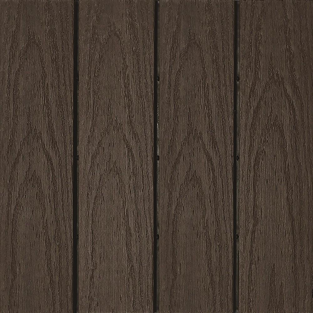 NewTechWood UltraShield Naturale 1 ft. x 1 ft. Quick Deck Outdoor Composite Deck Tile Sample in Spanish Walnut
