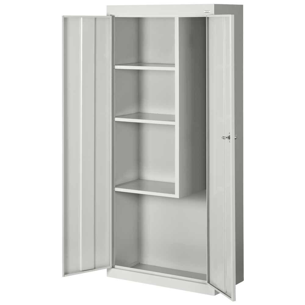 D Steel Freestanding Combination Storage Cabinet In Dove Gray