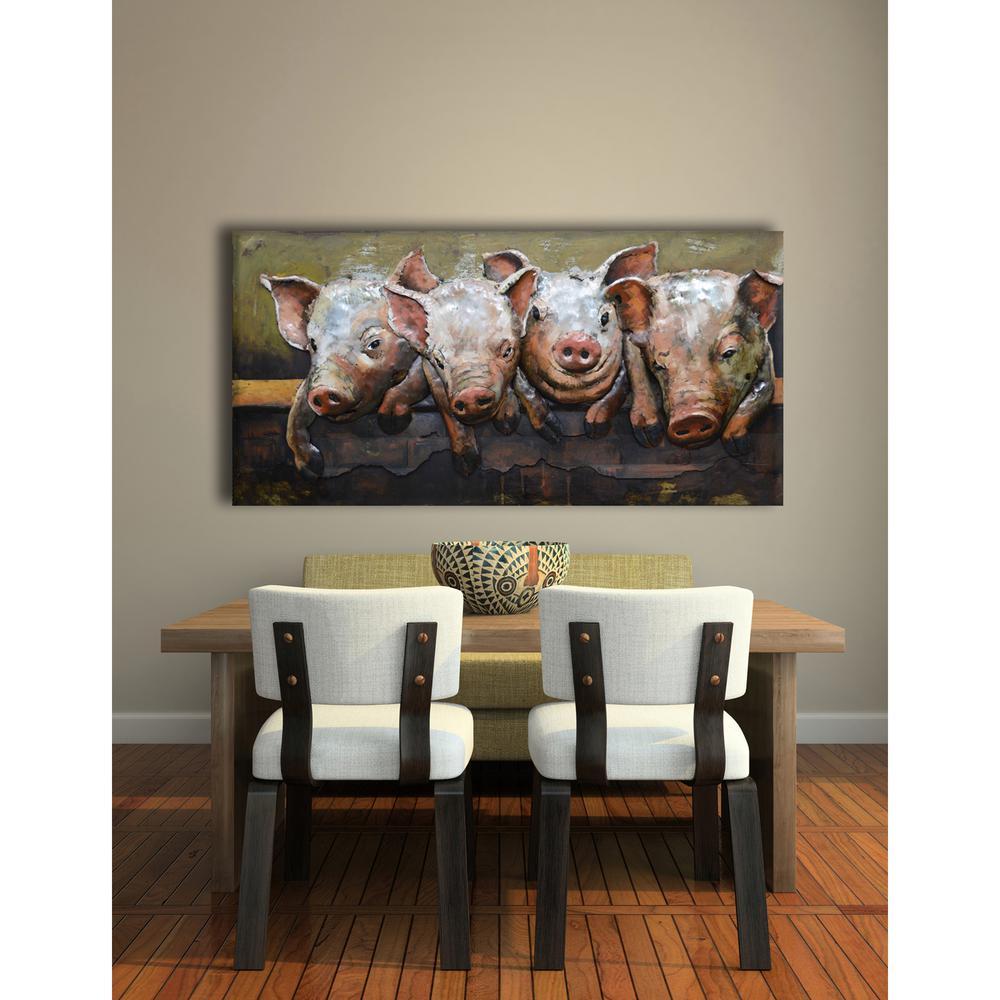 """24 in. x 47 in. """"Swine Portrait"""" Metal Wall Art"""