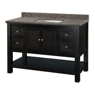 Gazette 49 in. W x 22 in. D Vanity in Espresso with Granite Vanity Top in Sircolo with White Sink