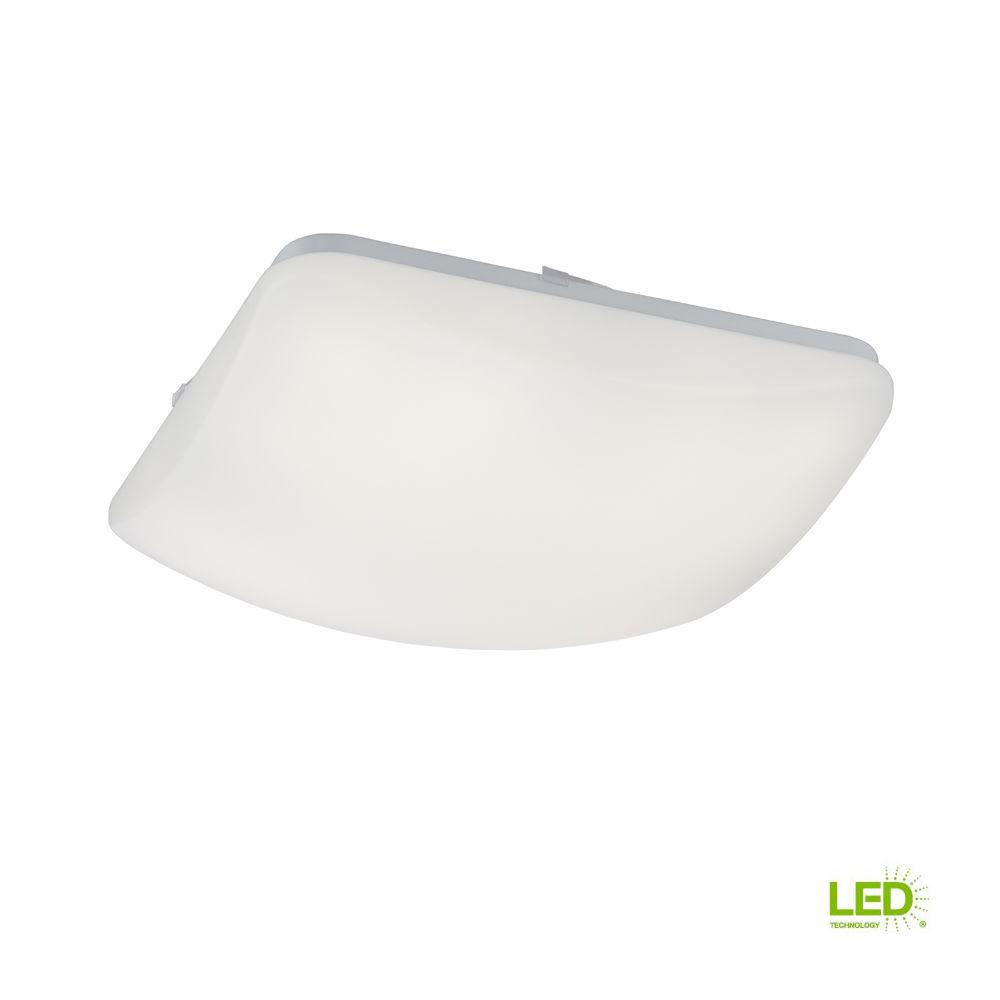 Commercial Electric 14 in. Low Profile White LED Square Puff Light