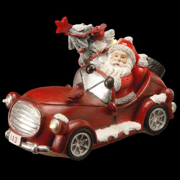 7 in. Polyresin Santa Car Ornament with Battery Operated LED Lights