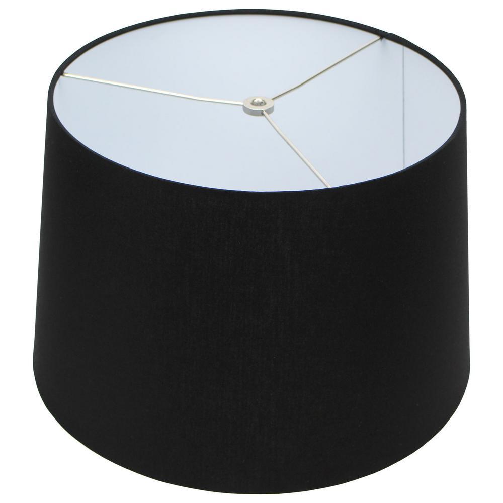 Fenchel Shades 13 in. Top Diameter x 15 in. Bottom Diameter x 10 in. Slant,  Empire Lamp Shade - Linen Black
