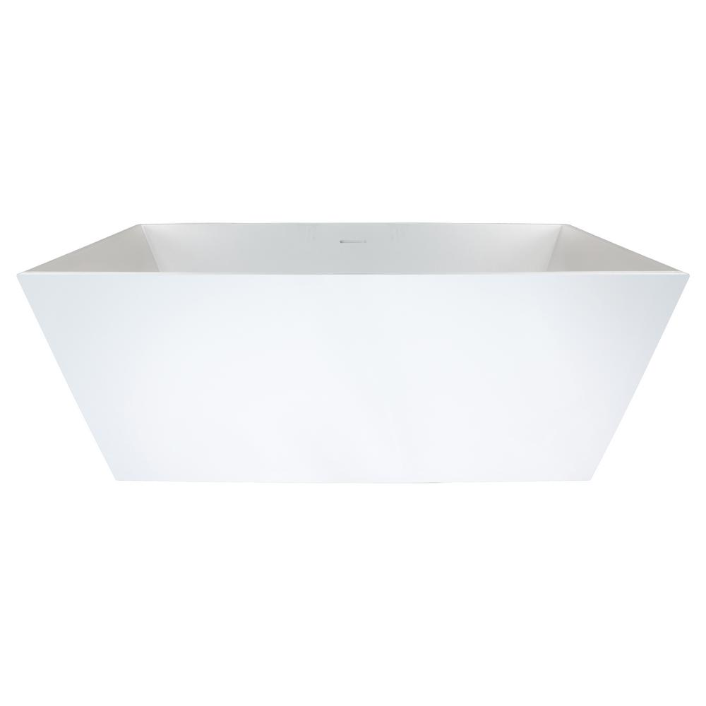 Bellevue 5 ft. Solid Surface Flatbottom Non-Whirlpool Freestanding Bathtub in