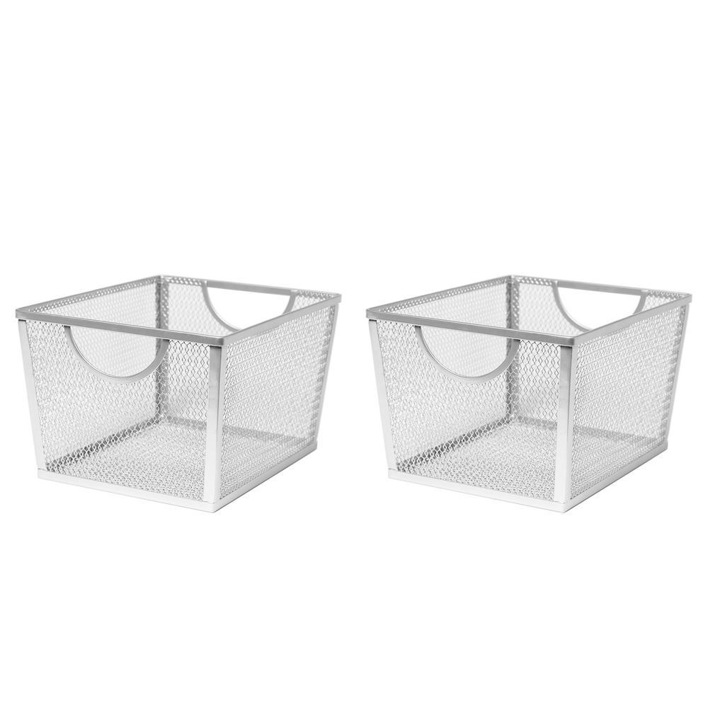 8 in. W x 6 in. H Silver Nesting Utility Storage Basket (2-Piece)