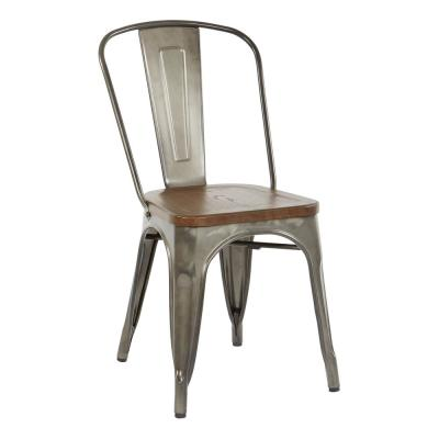 Indio Metal Chair with Vintage Ash Walnut Wood Seat and Matte Gunmetal (4-Pack)