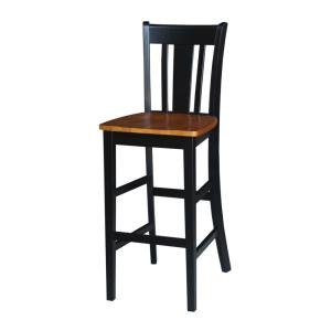 San Remo 30 in. Black and Cherry Bar Stool