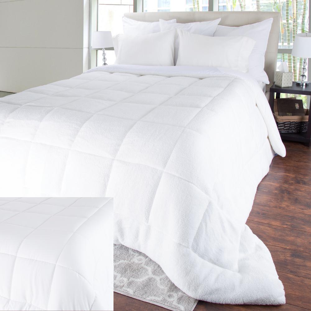 Oversized Reversible White Down Alternative Sherpa King Comforter