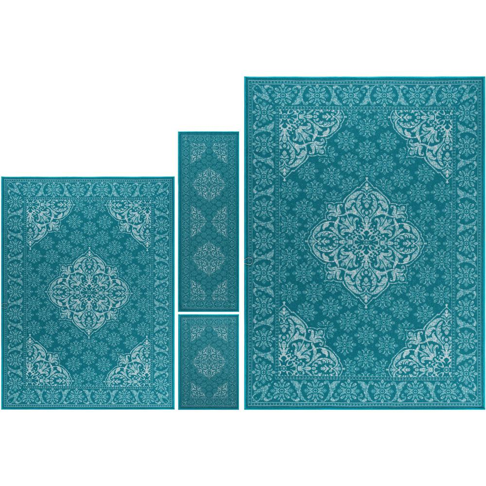 Tayse Rugs Majesty Teal 8 Ft. X 10 Ft. 4-Piece Rug Set