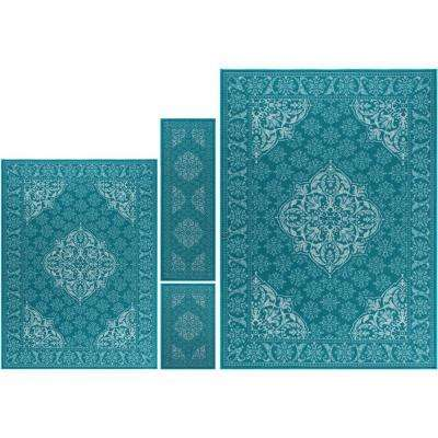 Majesty Teal 8 ft. x 10 ft. 4-Piece Rug Set