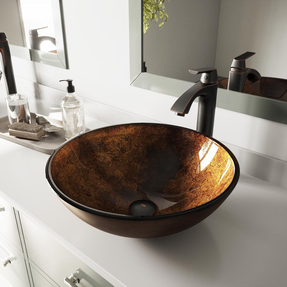 Gentil VIGO Glass Vessel Sink In Russet And Linus Faucet Set In Antique Rubbed  Bronze