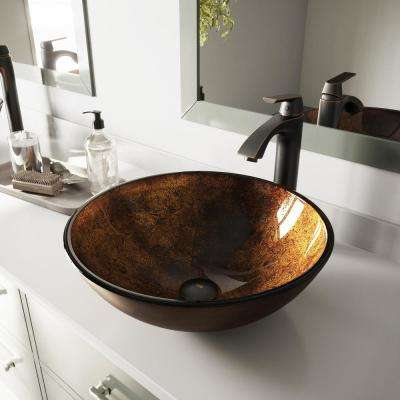 Glass Vessel Sink in Russet and Linus Faucet Set in Antique Rubbed Bronze